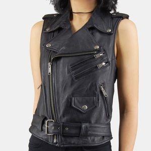 Vintage Black Leather Biker Vest